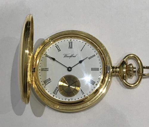 Mechanical Gold Plated Plain Polished Pocket Watch With Chain